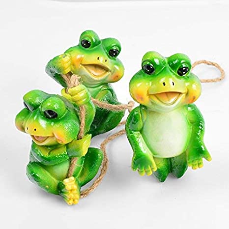 Bon Frog Garden Decor Statue Outdoor Lawn Ornaments And Figurines   Frolicking  Frogs Hanging Yard Art Sculpture