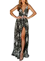 FFLMYUHULIU Women's Sexy Strap V Front Backless Solid Glitter Tulle High Split Prom Evening Party Cocktail Maxi Dress