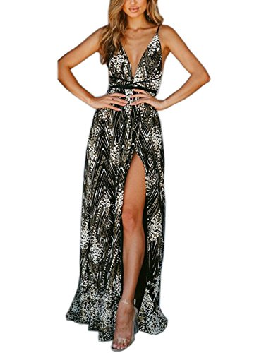 FFLMYUHULIU Women's Sexy Strap V Front Backless Solid Sequins Tulle High Split Prom Evening Party Cocktail Maxi Dress ZC55-Black-S