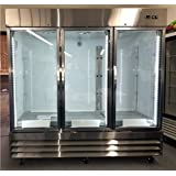 81 3 Door Commercial Reach In Glass Front Refrigerator Merchandiser, CFD3RR-G-HC, Stainless Steel Trim, 72 cu. ft, with LED lighting, for Restaurant