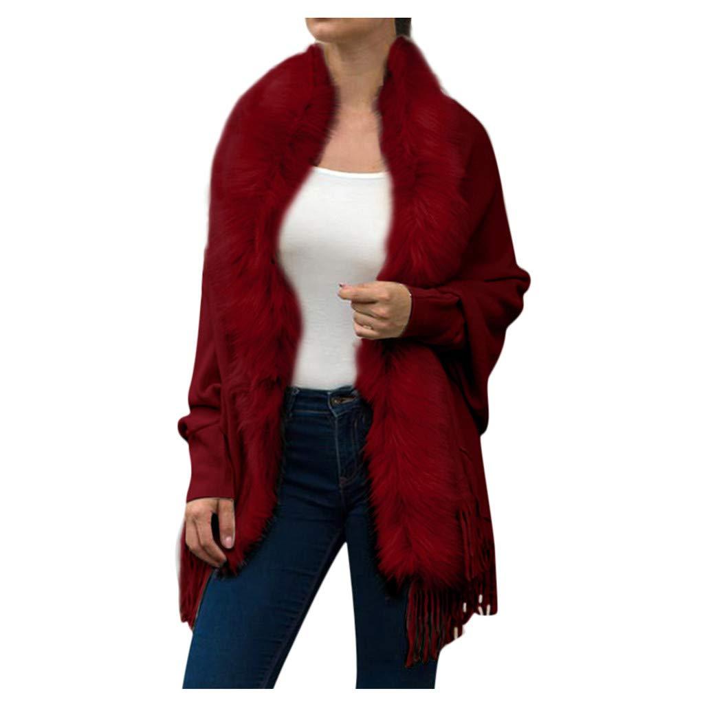Amazon.com: Fuax Fur Chaqueta de mujer, HOSOME Mujer ...