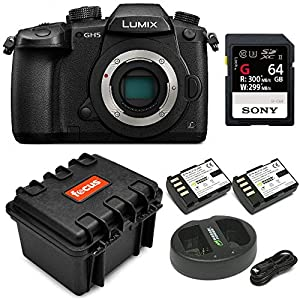 Panasonic GH5 Lumix 4K Mirrorless, 20.3 MP, Wi-Fi + Bluetooth,3.2″ LCD w/Sony 64GB SF-G Series UHS-II & Hard Case Bundle