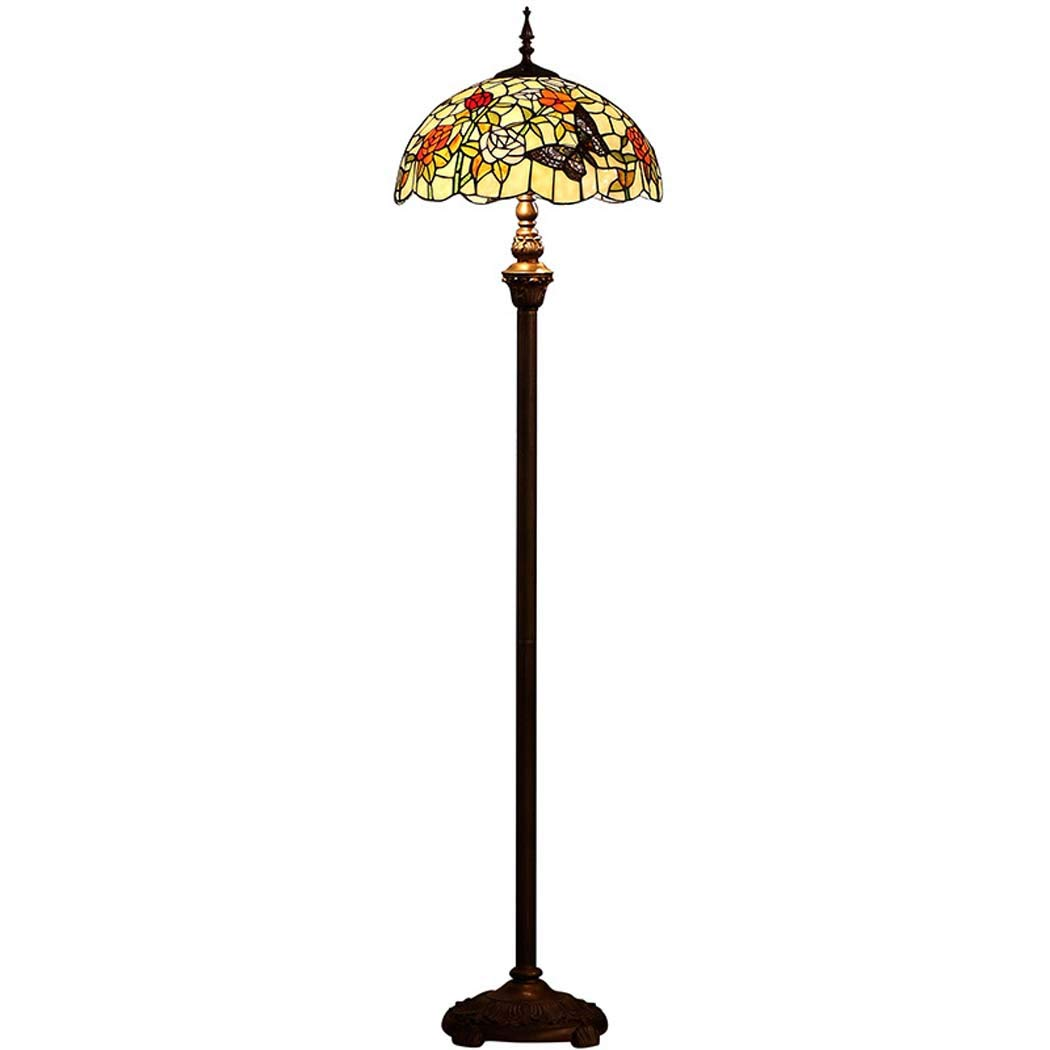 DSHBB Floor Lights, 16 inch Butterfly Tiffany Style Floor lamp with Stained Glass lampshade, Modern Standing Light for Living Rooms,bar,Bedrooms, E272 40W