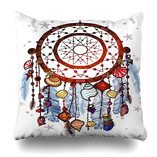 Ahawoso Throw Pillow Cover Retro Colored Bohemian Dreamcatcher Gemstones Feathers Ethnic Vintage Native American Indian Chic Decor Zippered Cushion Case 20