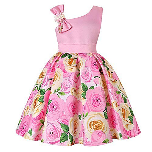 One Shoulder Printed Dress for Girls Princess Flower Wedding Pageant Party Dresses,Pink1,4T ()