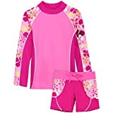 Tuga Girls Shoreline L/S & Swim Short (UPF 50+), Misty Pink, 4/5 yrs