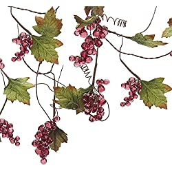 Kurt Adler Grape Beaded Vine Garland, 4-Feet, Red/Green