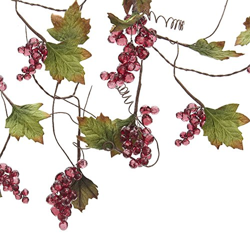 Kurt Adler Grape Beaded Vine Garland, 4-Feet, Red/Green