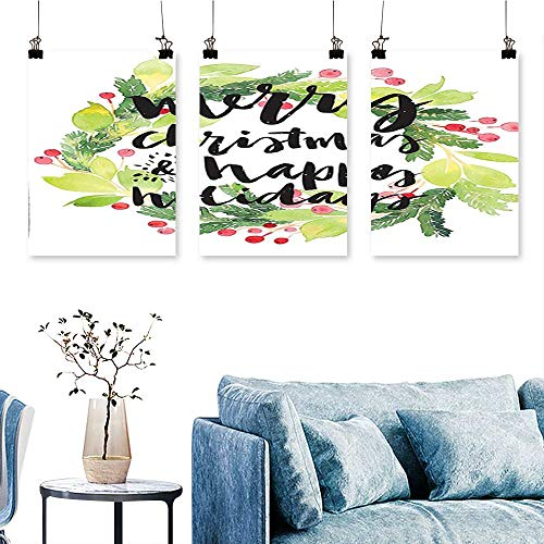 (SCOCICI1588 3-Piece Home Decoration Merry Christmas and Happy Holidays Rustic Wreath Red Berry and Evergreen Image White to Hang for Living Room No Frame 24 INCH X 40 INCH X 3PCS)