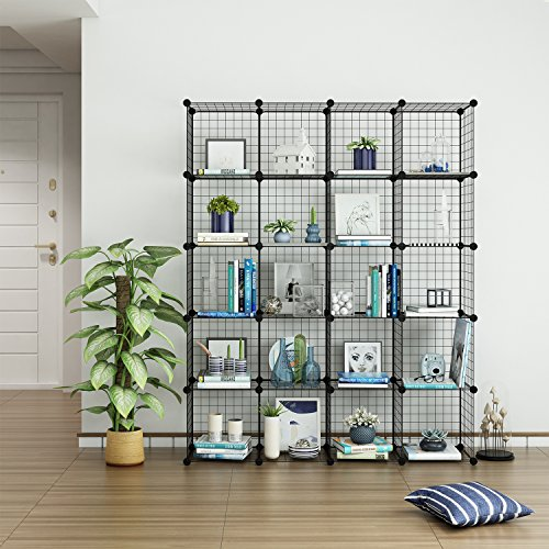 Tespo Wire Cube Storage Shelves Book Shelf Metal Bookcase Shelving Closet Organization System DIY Modular Grid Cabinet 20 cubes