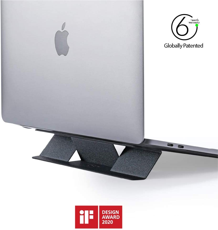 "MOFT Invisible Compact Laptop Stand, Adhesive And Reusable, Mini Version, 10° Adjustable Angle, Compatible with Laptops Up to 15.6""( Space Grey)"