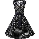iHPH7 Women Sleeveless Polka Dot Lace Hepburn Vintage Swing High-Waist Pleated Dress