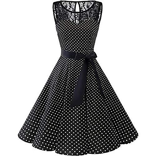 cktail Dress Sleeveless Vintage 1950s Retro Rockabilly Prom Tea Dresses with Belt(Black1,XXXXL) ()