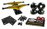 Owlsome 5.25 Metallic Gold/Black Aluminum Skateboard Trucks w/52mm Wheels Combo Set (Black)