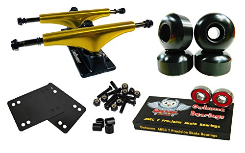 Owlsome 5.25 Metallic Gold/Black Aluminum Skateboard Trucks w/52mm Wheels Combo Set (Black)