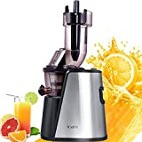 JIARUI Slow Juicer with Big Mouth, Masticating Juicer, Cold Press Juicer Stainless Steel, Fruits & Vegetable Juice Extractor with Quite Motor, Drier Pulp and Less Foam (240W AC Motor, 45RPM)