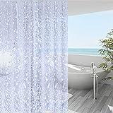 WellColor Short Shower Curtain Liner 65 inch, Pebble Translucent EVA Bath Shower Liners, Heavy Duty, Cobblestone, 72 x 65 inch
