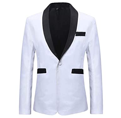 Singleluci Men S Double Side Color Black White Blazer Suit Jacket