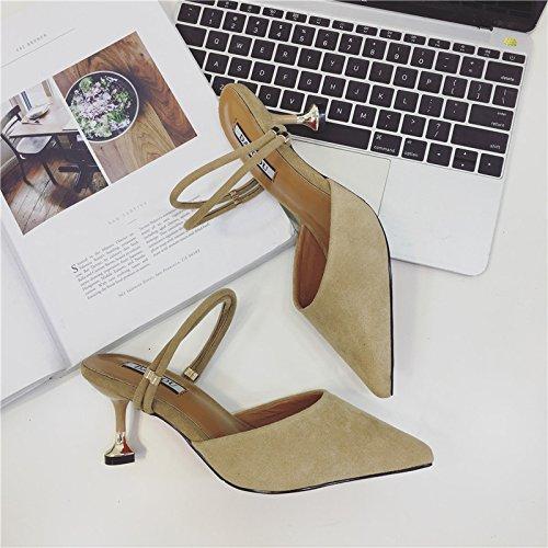 Fankou Fine con sandali estivi Baotou metà pantofole moda femminile, usura appuntita sexy tacco alto cool trascinare e ,34, kaki