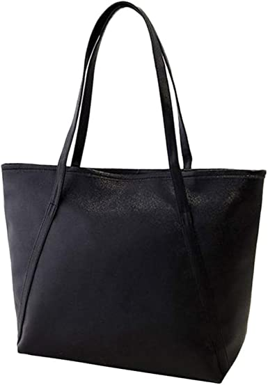 White and black leather shopper bag  simple women/'s tote