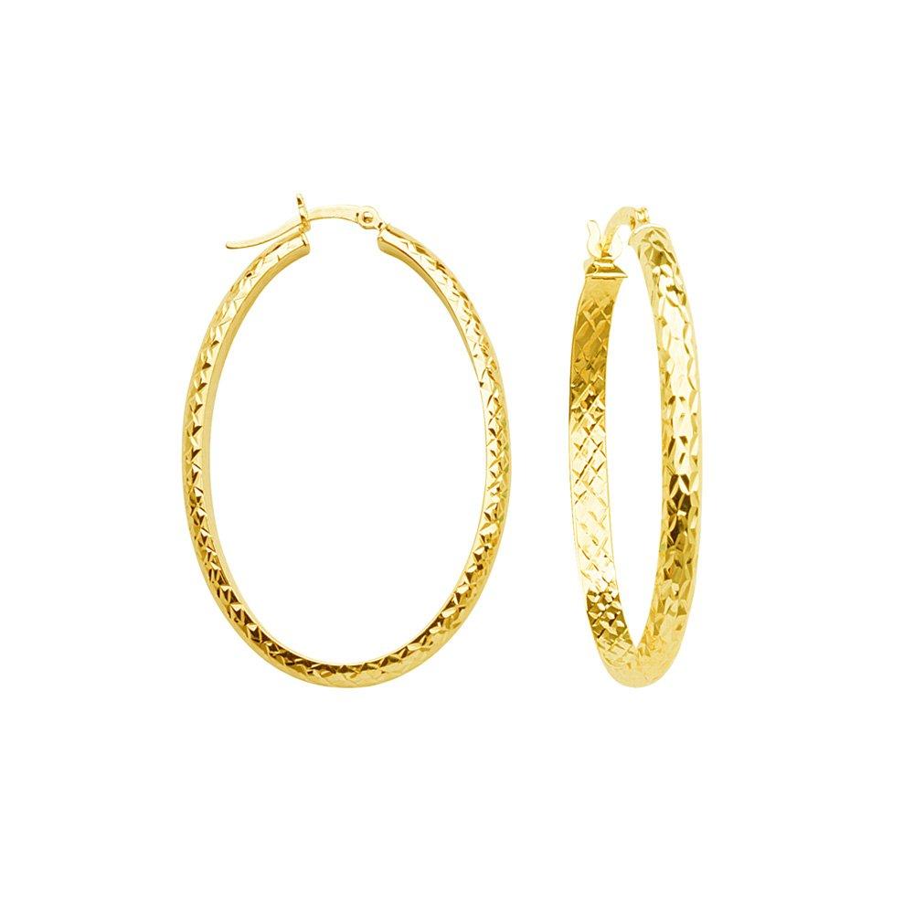 14kt Yellow Gold Inside Outside Oval 3mm Diamond Cut Hoop Earrings