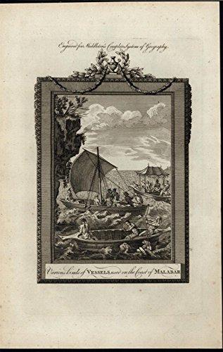 Malabar Coasts Boats Indian Sailors Pleasure Cruise 1777 antique engraved print