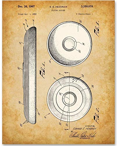 Frisbee - 11x14 Unframed Patent Print - Makes a Great Gift Under $15 for Frisbee Golf and Ultimate Players