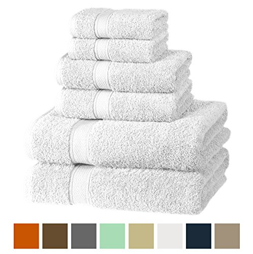 Premium, Luxury Hotel & Spa, Turkish Cotton 6-Piece Towel Set for Maximum Softness and Absorbency by American Veteran Towel (Snow - Bath Towel Betty Set Boop
