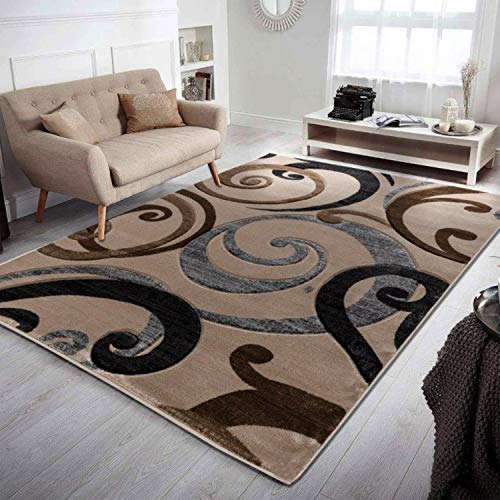 Home Must Haves Swirls Beige Super Soft Modern Contemporary Area Living Room Bedroom Home Decorator Floor Rug and Carpets Hand Carved, 8' x 10',