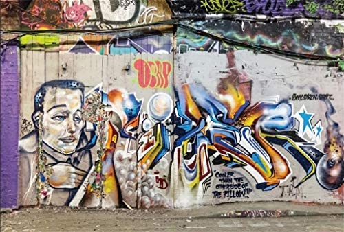 YEELE Graffiti Backdrop 10x8ft Colorful Brick Wall in City Street Photography Background Fashion Chic Art Room Decoration Kids Adults Artistic Portrait YouTube Videos Photoshoot Props Wallpaper