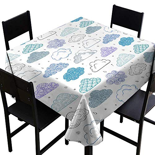 Zoisy Polyester Tablecloth Seamless Background with Blue and Violet Doodle Clouds Can be Used for Wallpaper Pattern Fills Textile Web Page Background Surface Textures Great for Buffet Table W54 x L54