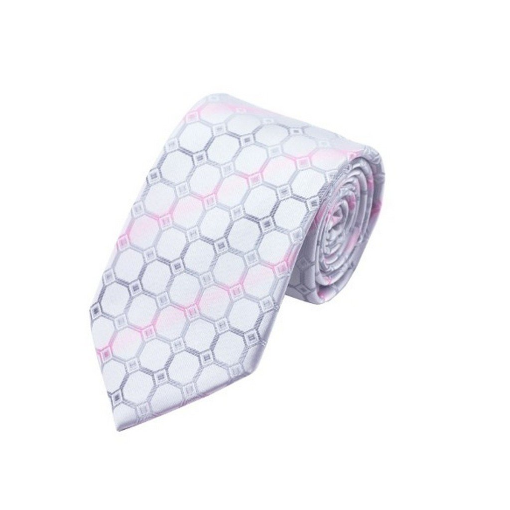 Silver Plaid Classic Silk Necktie Tie Hanky and Cufflinks Set For Men