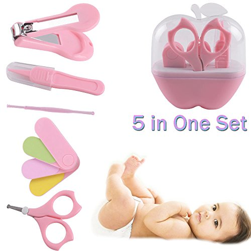 Baby Nail Trimmer Grooming kit 5 pcs, Lovebaby Nail Clippers Set with Nail Scissors, Nail File, Tweezers, Earpick For Newborn, Toddler, Kids, Boys, Girls Infant Manicure Kit Complete 5 pcs (Pink) from Baby Love