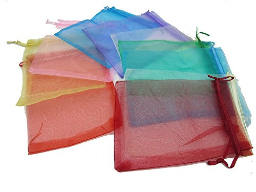 ZXUY Wedding Party Favor Satin Drawstring Organza Bags Pouch (100Pcs,Random -