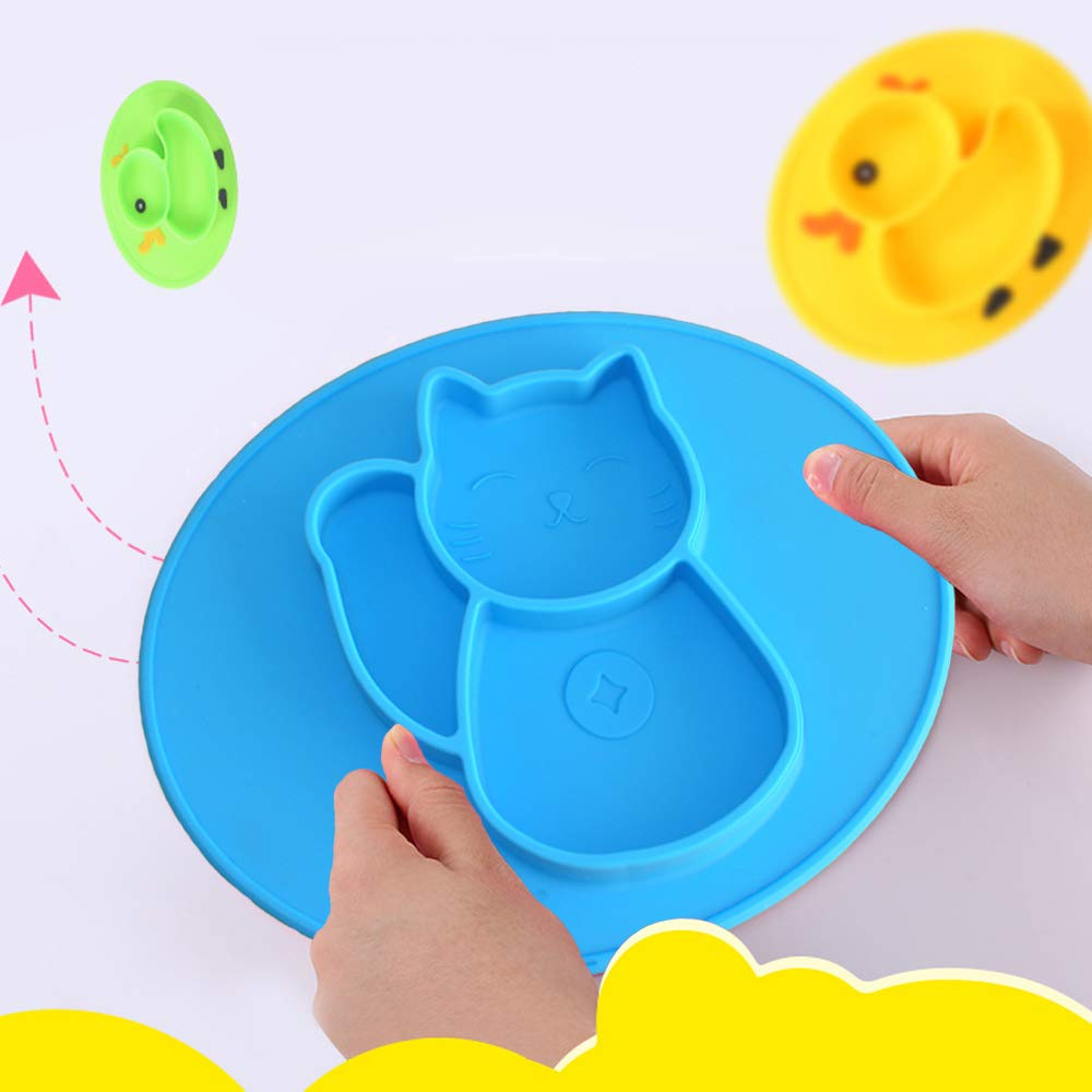 Non Slip Silicone Baby Placemat for Baby Led Weaning Strong Suction Baby Plate for Highchair and Travel Feeding Portable Baby Bowls for toddlers and kids Ultra Thick Feeding Placemat 100% Food Safe FDA Approved BP001