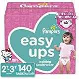 Pampers Easy Ups Pull On Disposable Potty Training Underwear for Girls, Size 4 (2T-3T), 140 Count