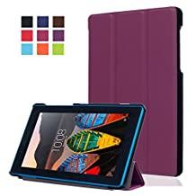 """Tablet for Samsung 7""""Lenovo Tab3 Case,Lenovo Tab3 Essential 7""""Protector,[Slim Soft] Full Protection with Flip Cover & Stand Shell for 7 inch Lenovo Tab3 7 Essential Back Case-Purple"""