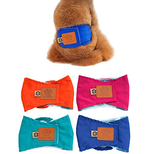 Seasons Band Dog Belly - UHeng 4 PCS Male Dog Reusable Wrap Diaper Washable Puppy Belly Band