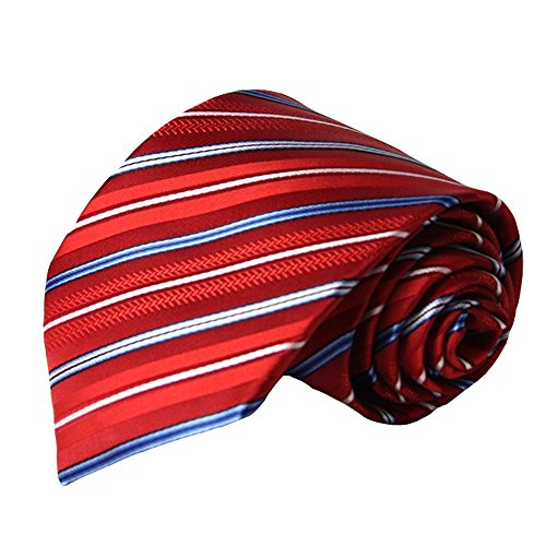 (Fashion Men Tie Stripe Necktie Red and Blue Striped Polyester Jacquard Weave for Office Party Necktie)