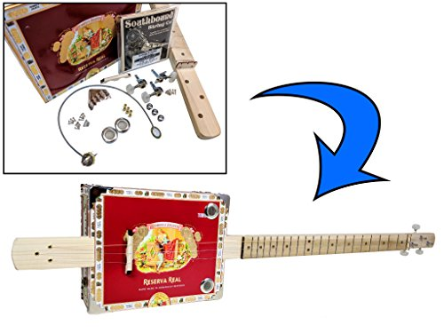 Complete DIY 3-String Fretted Cigar Box Guitar Kit with Neck - includes Acoustic/Electric Pickup by C. B. Gitty