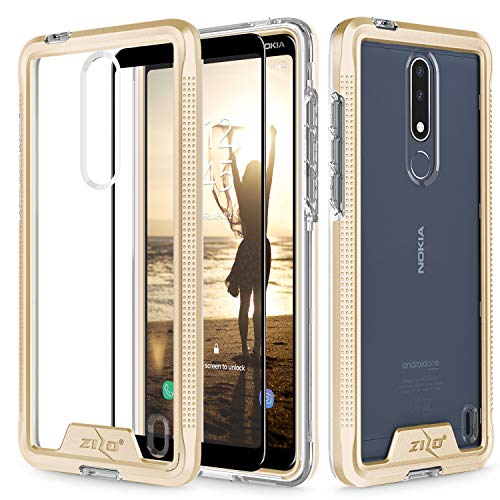 Nokia Series - Zizo Ion Series Compatible with Nokia 3.1 Plus Case Military Grade Drop Tested with Tempered Glass Screen Protector Gold Clear