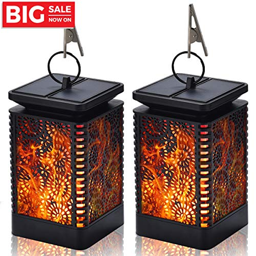 Kithouse 2 Pack Hanging Solar Lanterns Lights Outdoor Hanging Waterproof Decorative Lantern for Garden Patio Yard Party Festival Decor