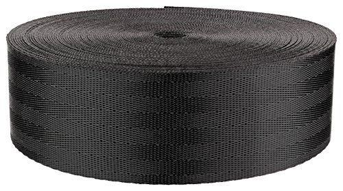 2 Inch Black Commercial Nylon (Polyester) Webbing Closeout, 10 Yards