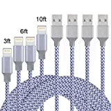 QIANXIANG Lightning Cable,Nylon USB Charging Syncing Cord Charger for iPhone X,8/8Plus,SE,6s,6Plus,6,7Plus, iPad/Mini,iPod 7,(4 Pack)(3FT 6FT 6FT 10FT)(Grey White)