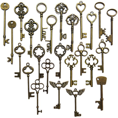 N'joy 26PCS Vintage Skeleton Keys, Mixed Steampunk Keys, Extra Large, Antique Bronze (L26B) (Victorian Key)