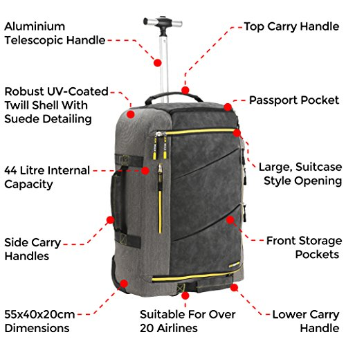 Cabin Max Manhattan 22x16x9 Hybrid Trolley Backpack Flight Approved hand  luggage f20bbd1fb937c