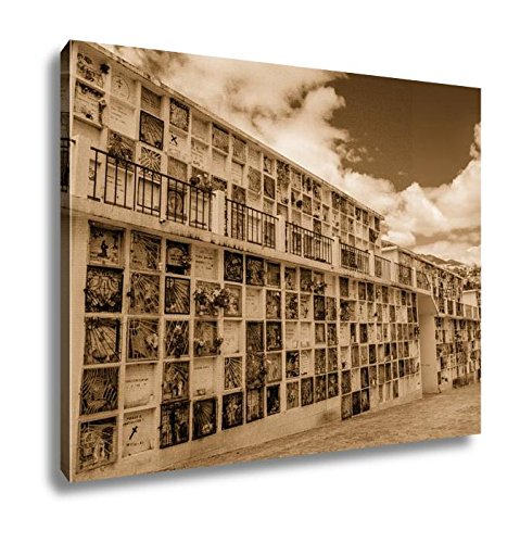 Ashley Canvas Typical Catholic Tomb Wall With Graves Part Of San Diego Cemetary In Quito, Kitchen Bedroom Living Room Art, Sepia 24x30, AG6523039 by Ashley Canvas