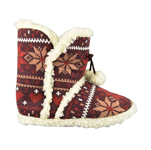 Unbekannt - Zapatillas de estar por casa de tela para mujer marrón - marrón