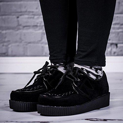 Cordones Zapatos Negro Plataforma Plano con CvxqYwrv