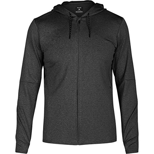 Hurley Men's Dri-Fit Expedition Full Zip Black Heather Large (Full Zip Terry Shirt)
